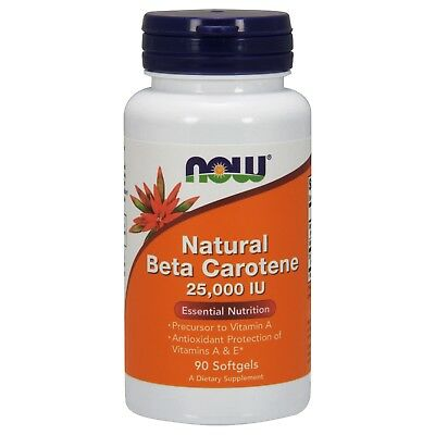 - NOW Foods Beta Carotene Natural, 25,000 IU, 90 Softgels