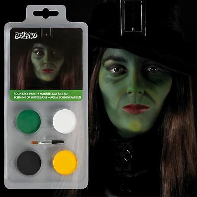 Halloween Easy Kids Girls Wicked Witch Zombie Green Yellow Make up Facepaint Set