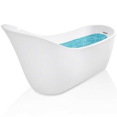 "68"" Acrylic White Bathtub Freestanding Bathroom Shower Spa Overflow Body Modern"