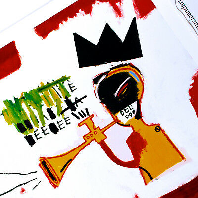"JEAN M BASQUIAT /""Trumpet/"" Street Artwork Print on Glossy Paper or Canvas"