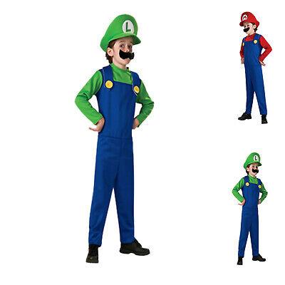 Super Mario Luigi Bro Kostüm-Set Mütze + Hose für Kinder Karneval Fasching