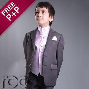 Boys-Grey-Pink-4pc-Wedding-Pageboy-Formal-Prom-Christening-Suit-6m-16-yrs
