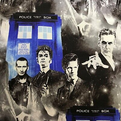 Fabric Doctor Who Faces and TARDIS Dr Who Cotton Quilting Fabric by the yard
