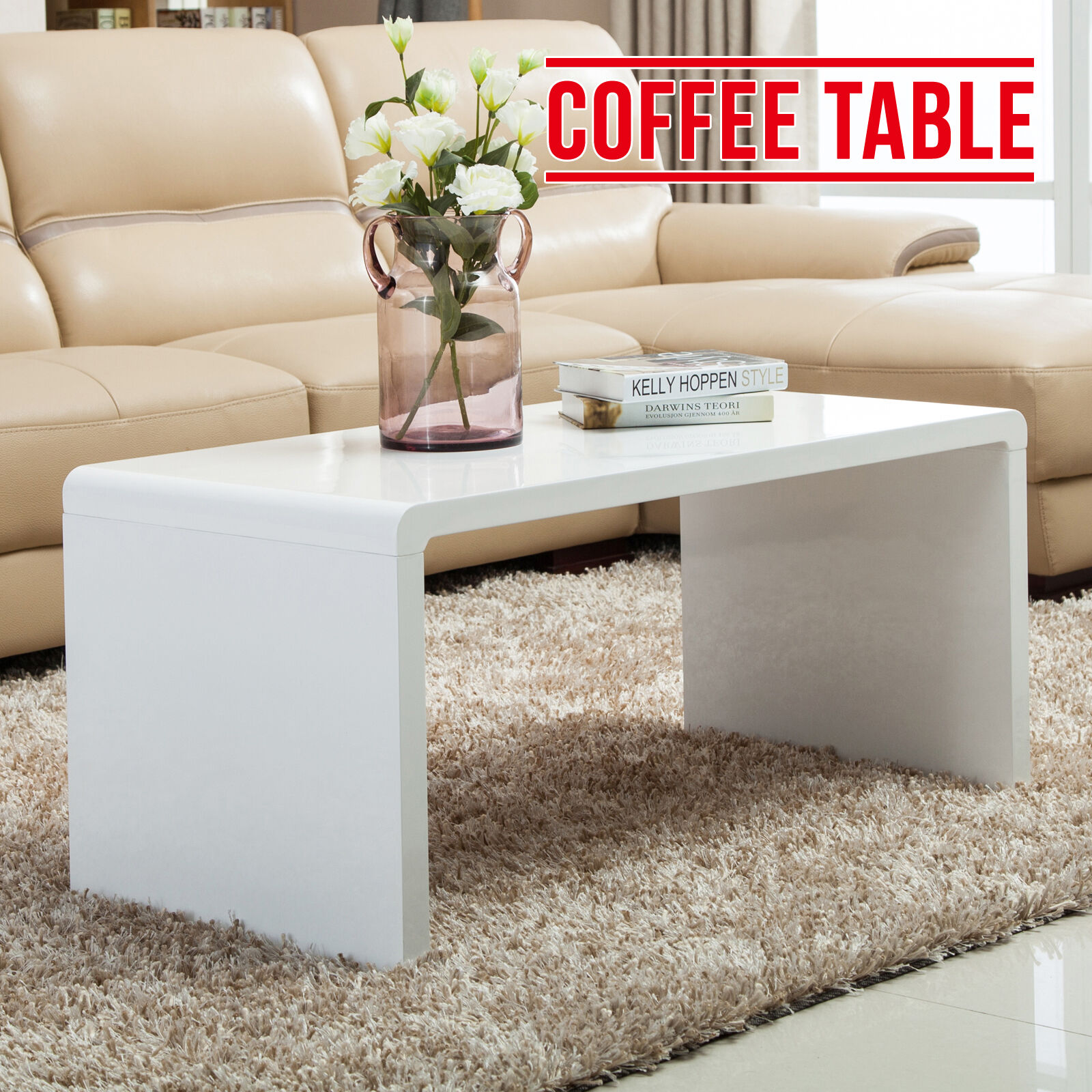 Modern Design White High Gloss Nest Of 3 Coffee Table Side: Modern High Gloss White Coffee Table Side/End Table Living
