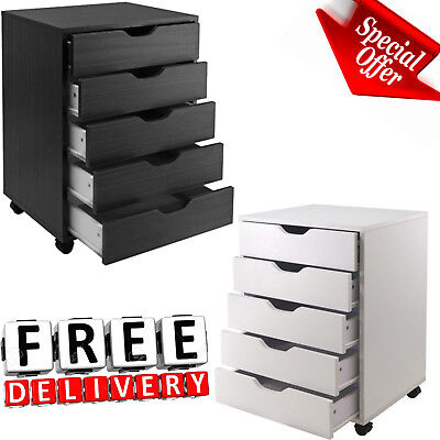 5 Drawer Rolling File Cabinet Wood Office Holder Document Storage Organizer