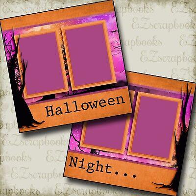 HALLOWEEN NIGHT - 2 Premade Scrapbook Pages - EZ Layout - Halloween Scrapbook Layout Pages