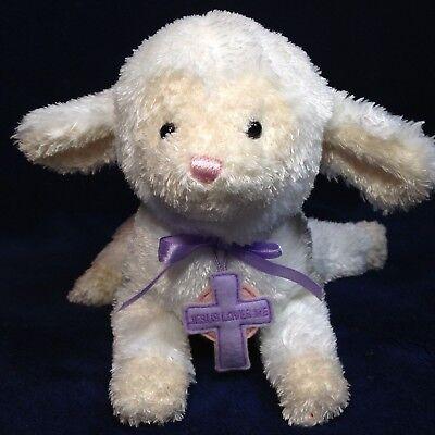Gund Blessed Little Lamb Beanbag Plush Jesus Loves Me Purple Cross & Bow 10