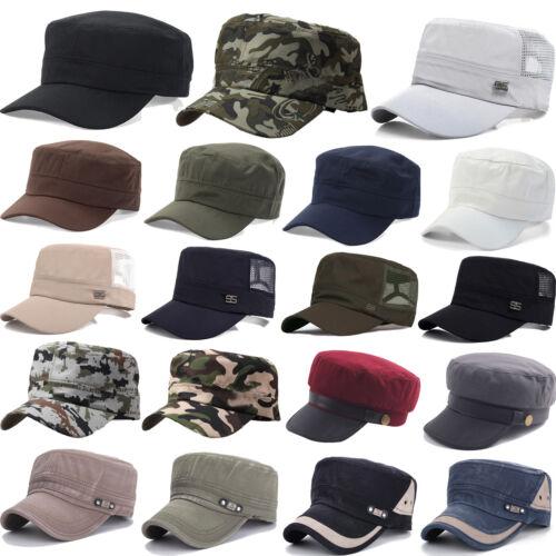 Damen Herren Trucker Baseball Kappe Kadett Flacher Hut Armee Militär Mützen Hüte