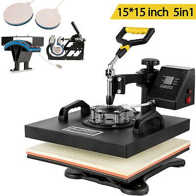 5 In 1 Heat Press Machine 15x15 Digital Transfer Sublimation T-shirt Mug Hat