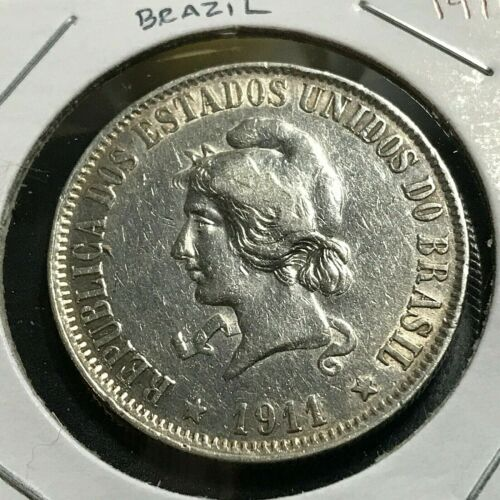 1911 BRAZIL 2000 REIS SILVER HIGH GRADE CROWN COIN
