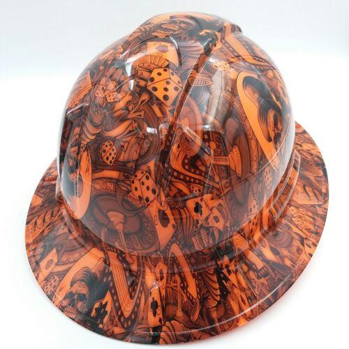FULL BRIM Hard Hat custom hydro dipped , NEW DEALERS CHOICE ORANGE HOT NEW 3