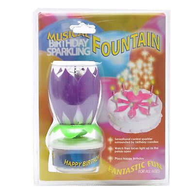 Rotating Happy Birthday Candle Lotus Flower Purple Party Cake Decorations