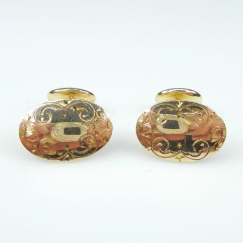 Antq Victorian S&W Sturdevant & Whiting Oval Floral 14k GF Cufflinks gold filled