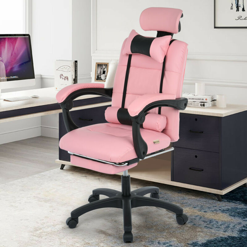 Pink PU Leather High Back Office Chair