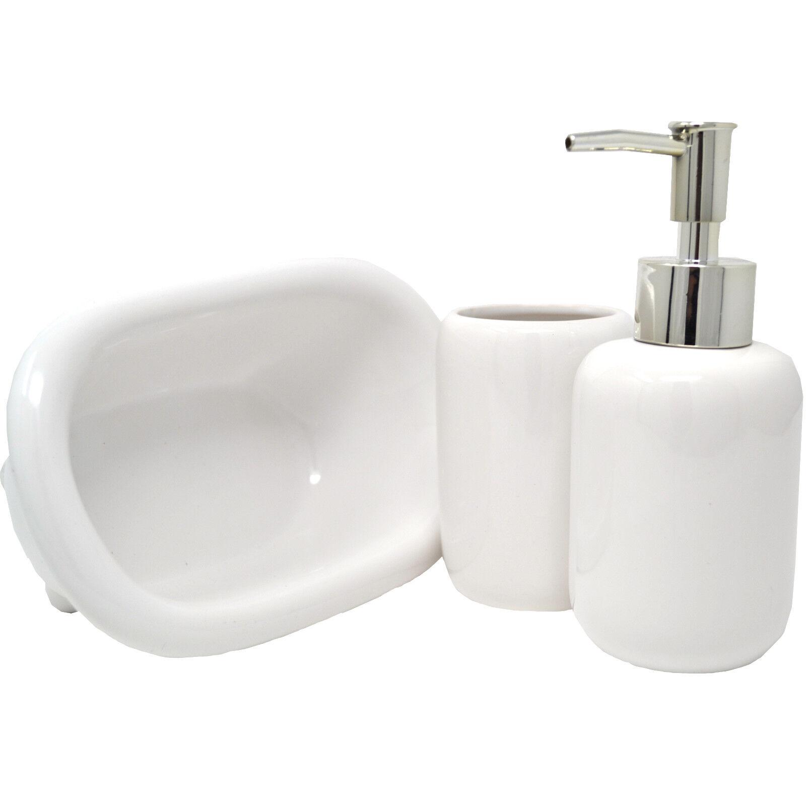 3PC BATHROOM ACCESSORY SET CERAMIC SOAP DISH DISPENSER & TUMBLER ...