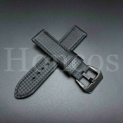 Black Carbon Fiber Watch Band - 20 MM Carbon Fiber Black Leather Watch Band Strap Fits Panerai Luminor USA 2019
