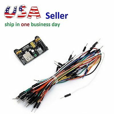 MB102 Power Supply Module 3.3V 5V+ 65Pcs Male to Male Jumper Cable Wires Arduino