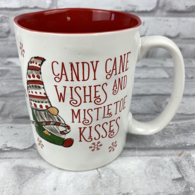 Peppermint Pine Christmas Gnome Candy Cane Wishes Mistletoe Kisses Mug