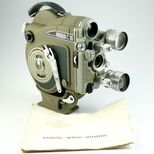 Eumig C16 R 16mm Motion Picture Camera + Detachable Base + Manual - Parts/Repair
