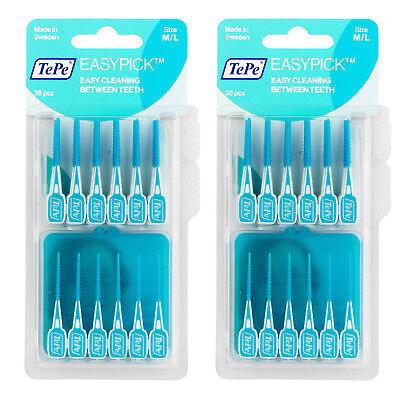Dental Pick (TePe Easy Pick 2x 36 Interdental Bürsten Easy Cleaning Zwischen Zähnen Blau M/L)