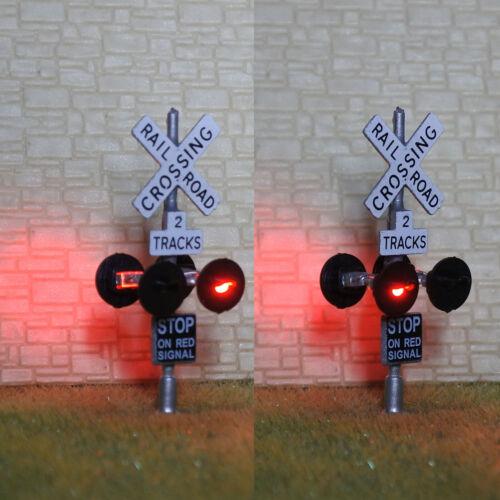 2 x HO scale railroad crossing signals 2 tracks + 1 circuit board flasher #SL4