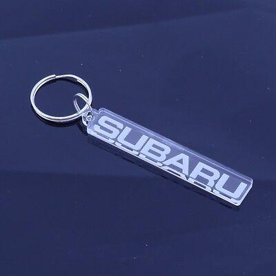 Subaru Texto Insignia Coche Llavero - Mano Laser Cut Acrílico Transparente