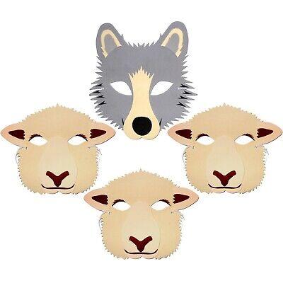Boy Who Cried Wolf Story Foam Face Masks - Wolf & 3 Sheep - Kids Childrens Masks