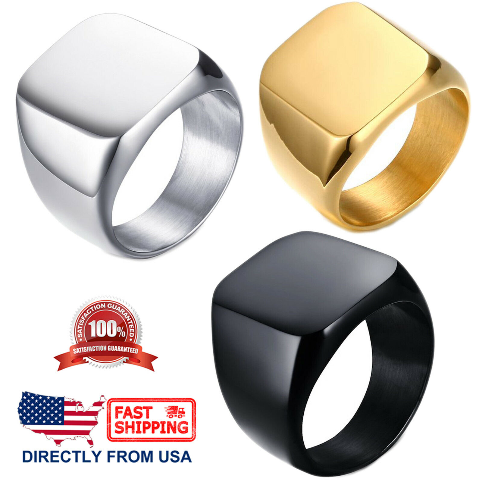 Men's Stainless Steel Classic Polished Signet Ring, Silver, Gold, or Black Color Jewelry & Watches