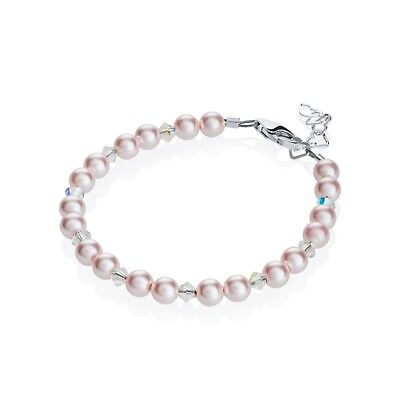 - Baby Bracelet Beaded with Pink Pearls and Clear Swarovski Crystals