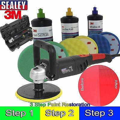 Sealey & 3m Car Body Car Kit Digital Polisher/3M Polish Paint Restoration Kit