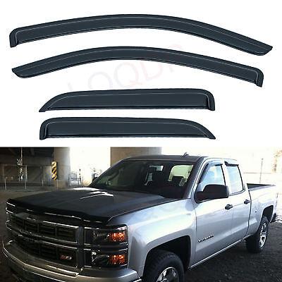 4pcs Outside Mount Smoke Vent Window Visor Fit 14-18 Silverado/Sierra Double Cab Double Cab 4 Piece