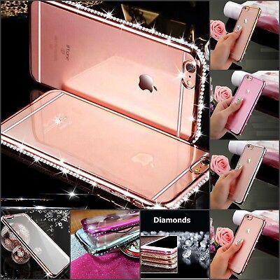 Crystal Skin Tpu Case (Diamond rhinestone crystal clear slim soft TPU case skin for iPhone 6 7 8 X Plus)