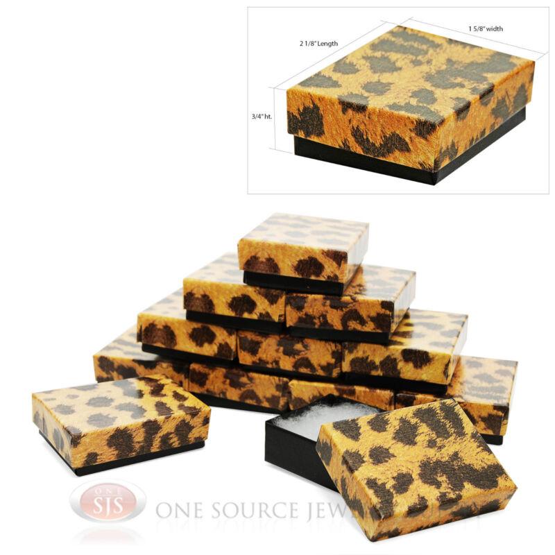 """12 Leopard Print Cotton Filled Boxes 2 1/8"""" x 1 5/8"""""""