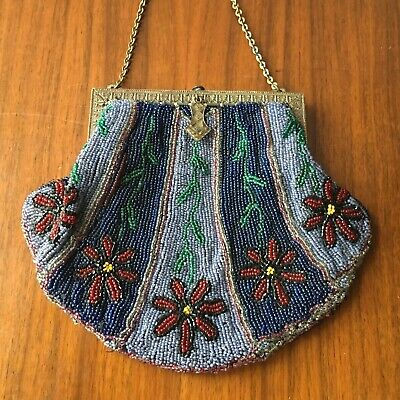 Handmade Cloth Purse with Gold Tassels and Ribbon Flowers Purple Drawstring Bag with Glass Beads