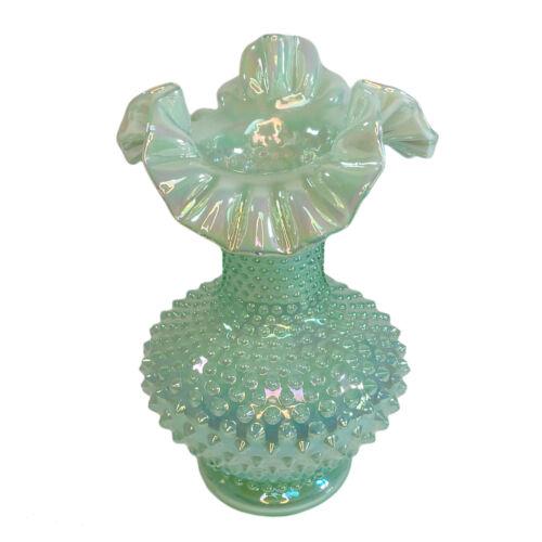 Fenton Green Iridescent Hobnail Ruffle Art Glass Vase VINTAGE