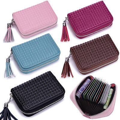 Womens RFID Blocking Genuine Leather Secure Credit Card Holder Zip Around Wallet