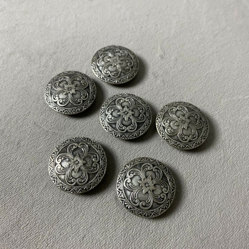 Lot of 6 Vintage Pewter Etched Buttons