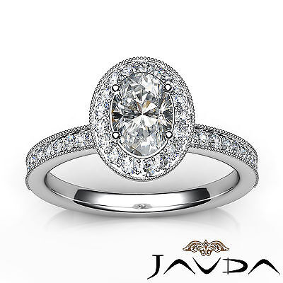Bezel Set Milgrain Edge Halo Oval Diamond Engagement GIA F VS1 Clarity Ring 1Ct 3