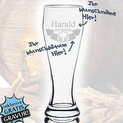Bierglas Weizenbierglas mit Gravur Personifizierter Geschenk