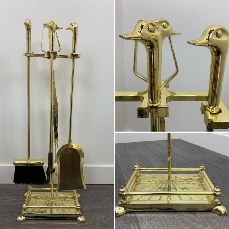 Vintage Gold / Brass Duck Head Fireplace Tool Set - 5 Piece - 4 Tools & Stand