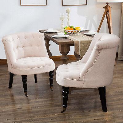 Set of 2 Elegant Design Lorraine Fabric Chair Sofa in Beige Living Dining Room Dining Room Set Sofa