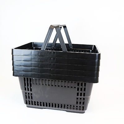 Black Plastic Shopping Basket x 5
