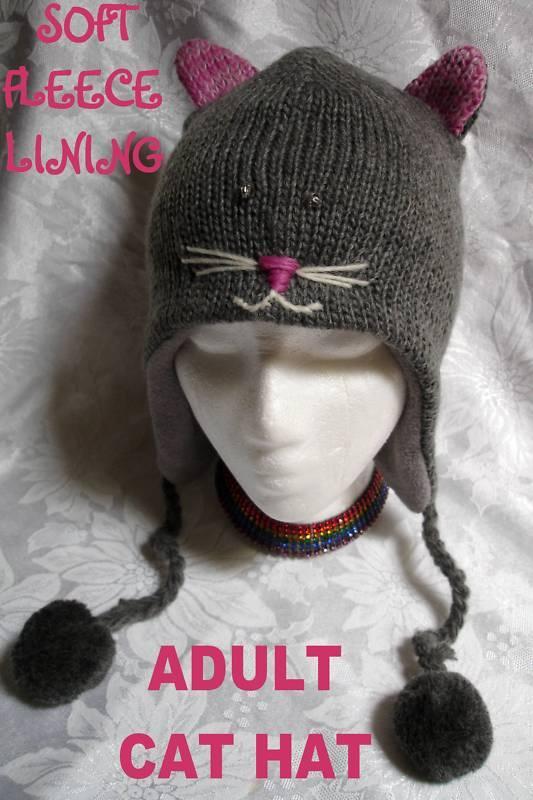 delux CAT HAT ski cap ADULT animal costume FL LINED grey GRAY anime toque beanie