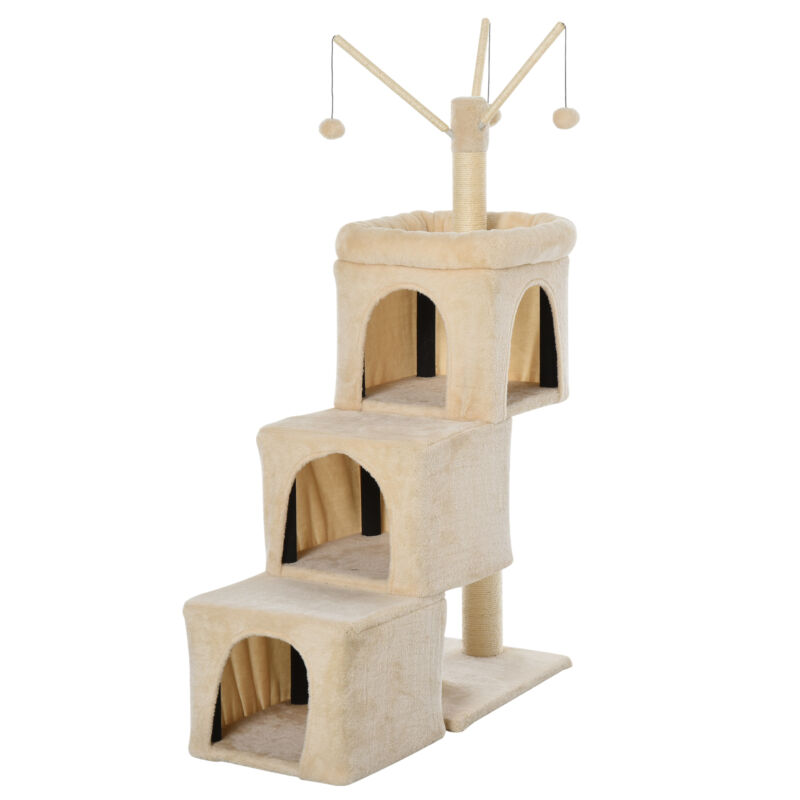 PawHut Plush Cat Tree Tower Activity Center with Sisal Posts Condo