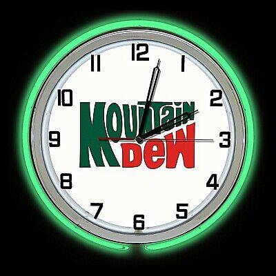 "19"" Mountain Mt Dew Vintage Sign Green Double Neon Clock Man Cave Garage"