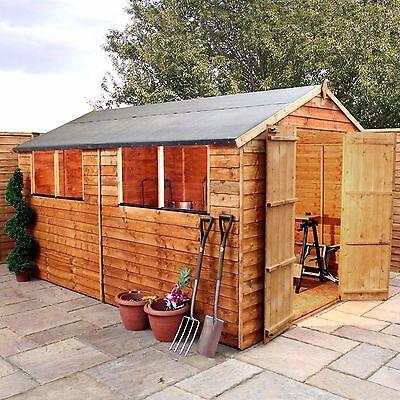 12x8 Wooden Overlap Garden Storage Shed Windows Double Door Apex Roof 12Ft 8Ft