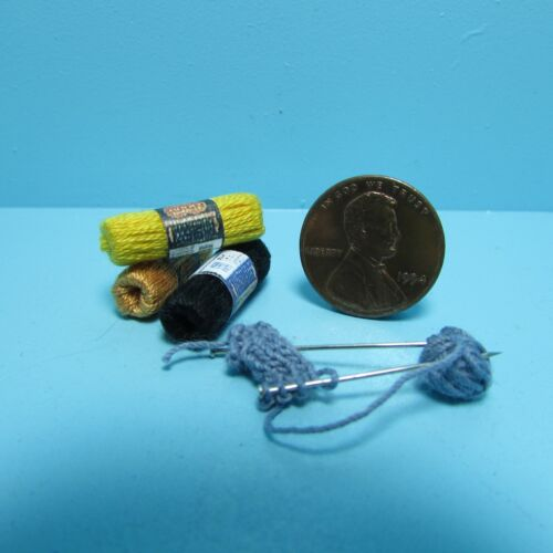 Dollhouse Miniature Knitting in Progress with Needles and yarn Skeins ~ CAR1168