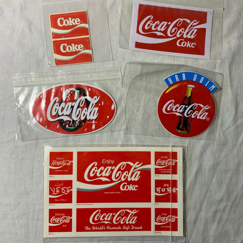 Coca-Cola International Logo Stickers Decals Lot