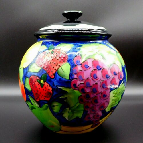 Ganz Pottery Denise Ford Cobalt Blue Cookie Jar Cover Hand Painted Fruit Design