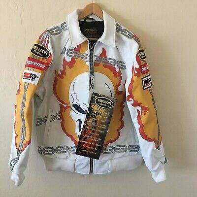 SUPREME Vanson Leather Ghost Rider Jacket White Large Box Logo marvel RARE NEW